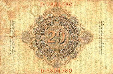 Reichsschuldenverwaltung  20 Marks  1908 Issue Dimensions: 200 X 100, Type: JPEG