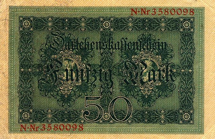 Reichsschuldenverwaltung  50 Marks  1914 Issue Dimensions: 200 X 100, Type: JPEG