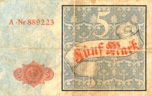 Reichsschuldenverwaltung  5 Marks  1882 Issue Dimensions: 200 X 100, Type: JPEG