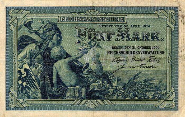 Reichsschuldenverwaltung  5 Marks  1904 Issue Dimensions: 200 X 100, Type: JPEG