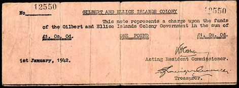 Gilbert and Ellice Island Colony  1 Pound  1942 Issue Dimensions: 200 X 100, Type: JPEG