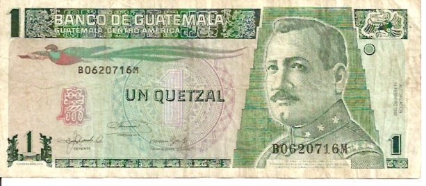 Banco De Guatemala  1 Quetzal  1969-1975 Issue Dimensions: 200 X 100, Type: JPEG