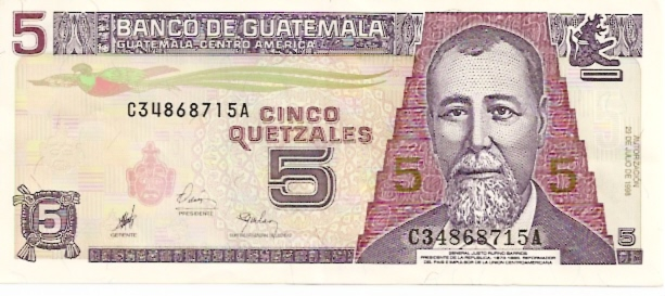 Banco De Guatemala  5 Quetzales  1969-1975 Issue Dimensions: 200 X 100, Type: JPEG