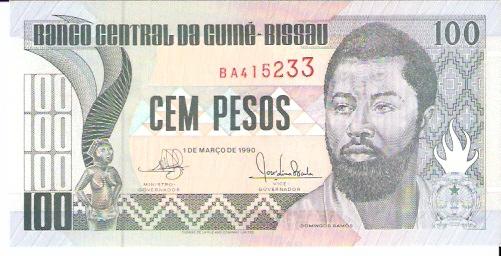 Banco Nacional Da Guine Bissau  100 Pesos  1975 Issue Dimensions: 200 X 100, Type: JPEG