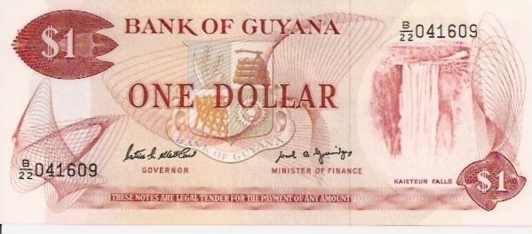 Bank of Guyana  1 Dollar  1966 ND Issue Dimensions: 200 X 100, Type: JPEG