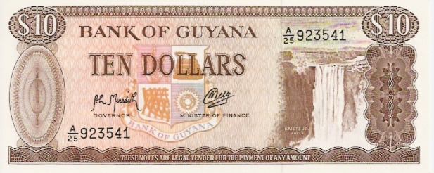 Bank of Guyana  10 Dollar  1966 ND Issue Dimensions: 200 X 100, Type: JPEG