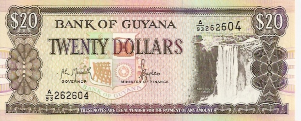 Bank of Guyana  20 Dollar  1966 ND Issue Dimensions: 200 X 100, Type: JPEG