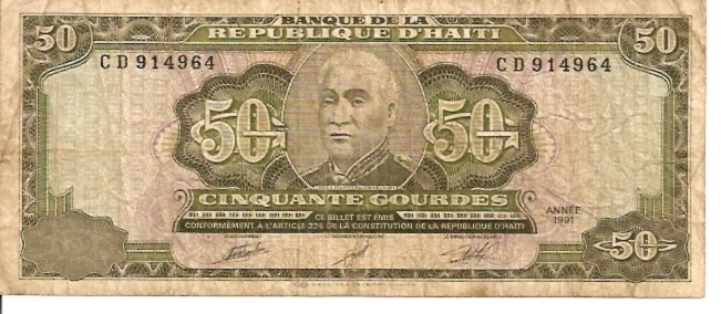 Banque DE LA Republique D'Haiti  50 Gourde  1991 Issue Dimensions: 200 X 100, Type: JPEG