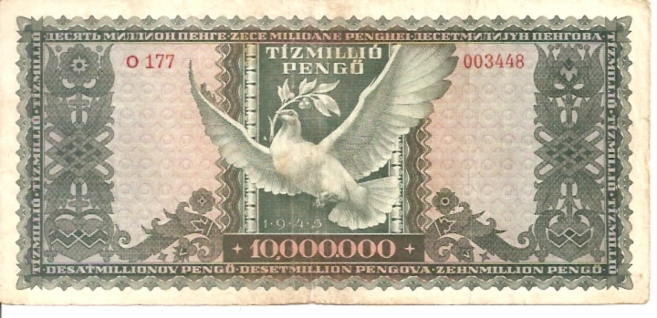 Magyar Nemzeti Bank  10000000 Pengo  1945 Issue Dimensions: 200 X 100, Type: JPEG