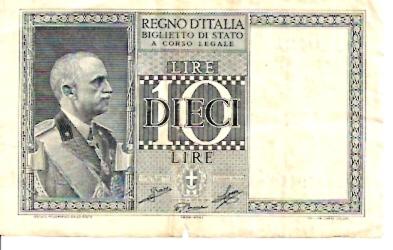 Repubblica Italiana - Biglietto Di Stato  10 Lire  Not in Circulation anymore Dimensions: 200 X 100, Type: JPEG
