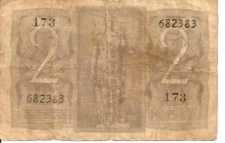 Repubblica Italiana - Biglietto Di Stato  2 Lire  Not in Circulation anymore Dimensions: 200 X 100, Type: JPEG