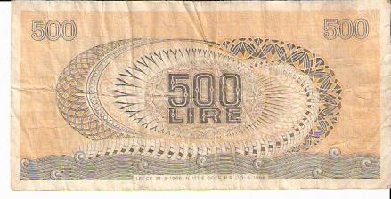 Repubblica Italiana - Biglietto Di Stato  500 Lire  Not in Circulation anymore Dimensions: 200 X 100, Type: JPEG