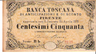 Banca Toscana 50 Centesimi April 24 1879 Issue Dimensions: 200 x 100 Type: JPEG