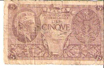 Repubblica Italiana - Biglietto Di Stato  5 Lire  Not in Circulation anymore Dimensions: 200 X 100, Type: JPEG