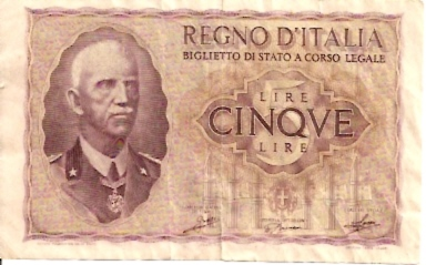 Regno D'Italiana  5 Lire  ND Issue  Not in circulation anymore Dimensions: 200 X 100, Type: JPEG