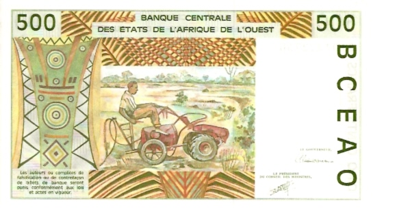 Banque Centrale  500 Francs  A-Ivory Coast Dimensions: 200 X 100, Type: JPEG