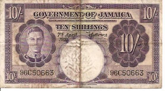 Government of Jamaica  10 Schilling  April 1955 Issue Dimensions: 200 X 100, Type: JPEG