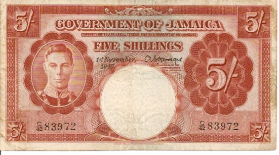 Government of Jamaica  5 Schilling  November 1940 Issue Dimensions: 200 X 100, Type: JPEG