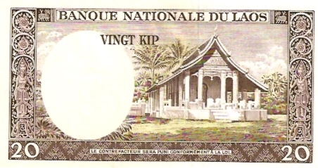 Banque Nationale Du Laos  20 Kip  1962-1963 Issue Dimensions: 200 X 100, Type: JPEG