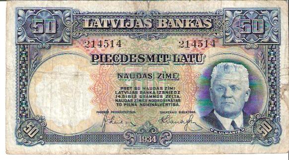 Latvijas Bankas  50 Latu  1934 Issue Dimensions: 200 X 100, Type: JPEG