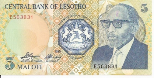 Lesotho Monetary Authority  5 Maloti  1989 ND Issue Dimensions: 200 X 100, Type: JPEG