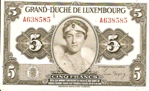International Bank in Luxembourg  5 Francs  1961-1963 Issue Dimensions: 200 X 100, Type: JPEG