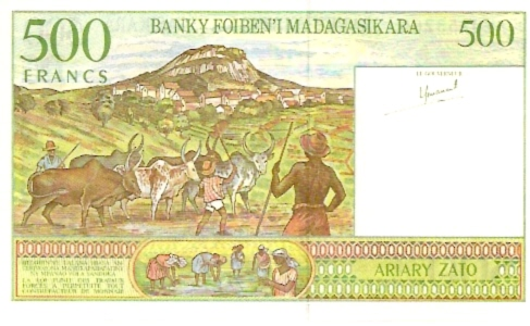 Institut D.Emission Malgache  500 Francs  1988 ND Provisional Issue Dimensions: 200 X 100, Type: JPEG