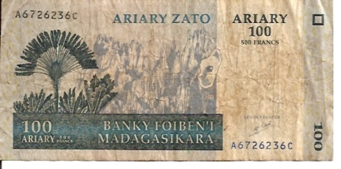 Institut D.Emission Malgache  100 Francs  1961 ND Provisional Issue Dimensions: 200 X 100, Type: JPEG