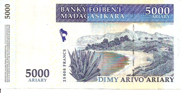 Institut D. Emmission Malgache 5000 Francs ND Issue Dimensions: 200 x 100 Type: JPEG