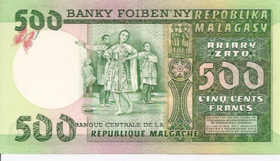 Banque Centrale De La Republique Malgache  500 Francs  1974 ND Issue Dimensions: 200 X 100, Type: JPEG