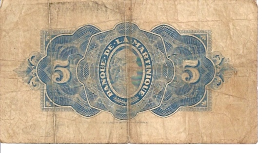 Banque De La Martinique  5 Francs  Very old Currency Dimensions: 200 X 100, Type: JPEG