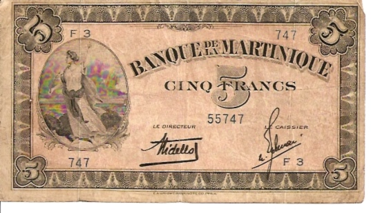 Banque De La Martinique 5 Francs Very Old Currency Dimensions 200 X 100 Type
