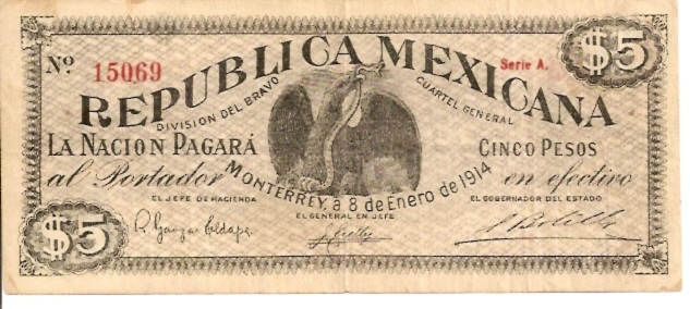 United States of Mexico  Banco De Mexico  5 Peso  Jan 1914 Issue Dimensions: 200 X 100, Type: JPEG