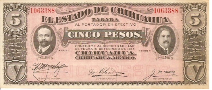 United States of Mexico  Banco De Mexico  5 Peso  Feb 1914 Issue Dimensions: 200 X 100, Type: JPEG