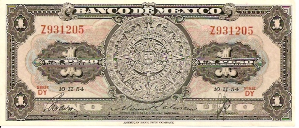 United States of Mexico  Banco De Mexico  1 Peso  1957 Issue Dimensions: 200 X 100, Type: JPEG