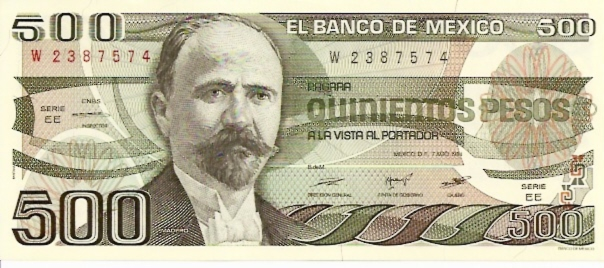 United States of Mexico  Banco De Mexico  500 Peso  1983-1984 Issue Dimensions: 200 X 100, Type: JPEG