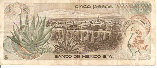 United States of Mexico  Banco De Mexico  5 Peso  1969-1974 Issue Dimensions: 200 X 100, Type: JPEG