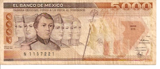 United States of Mexico  Banco De Mexico  5000 Peso  1983-1984 Issue Dimensions: 200 X 100, Type: JPEG