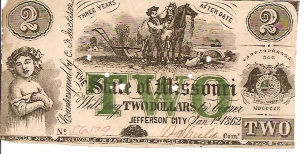 The State of Missouri  2 Dollars  1862 Issue  Not in circulation anymore  AKA - Broken Notes Dimensions: 200 X 100, Type: JPEG