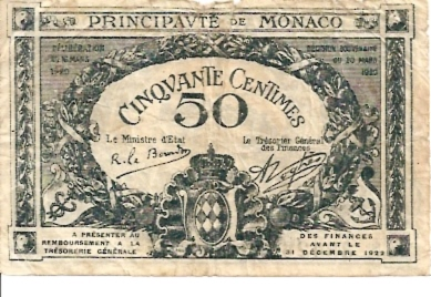 Princivate De Monaco  50 Centimes  1922 Issue Dimensions: 200 X 100, Type: JPEG