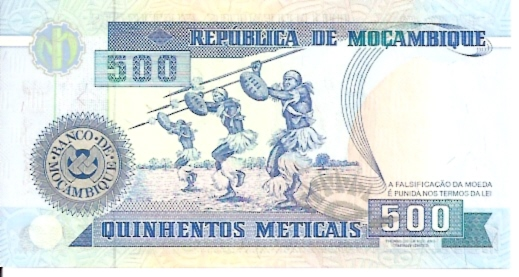 Republica Popular De Mocambique  500 Meticales  1976 Issue Dimensions: 200 X 100, Type: JPEG
