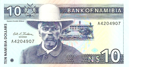 Bank of Namibia  10 Dollars  1993 ND Issue Dimensions: 200 X 100, Type: JPEG