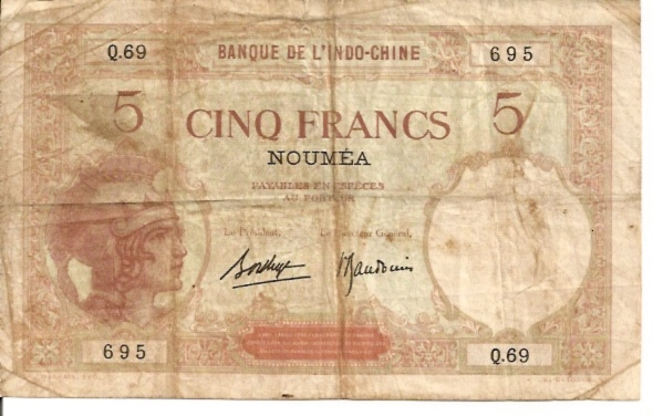 Banque De L'Indochina  5 Francs  Old Currency Dimensions: 200 X 100, Type: JPEG