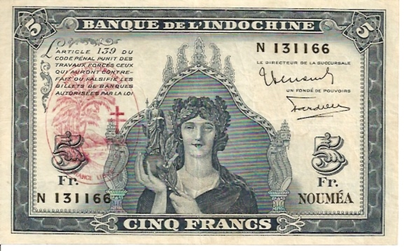 Institut D'emission D'Outer-Mer, Nouvelles Hebrides  5 Francs  Old Currency Dimensions: 200 X 100, Type: JPEG