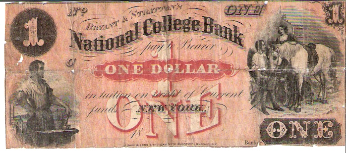 National College Bank   1 Dollars  1853 Issue  Not in circulation anymore  AKA - Broken Notes Dimensions: 200 X 100, Type: JPEG