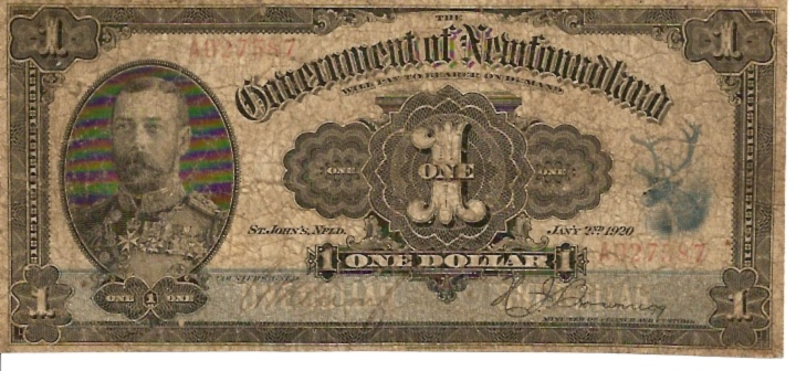 Government of Newfoundland  1 Dollar  1920 Issue Dimensions: 200 X 100, Type: JPEG