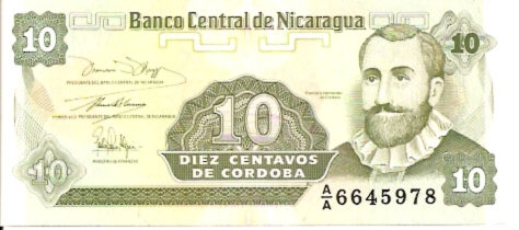 Banco Central De Nicaragua  10 Centavos  1991-1992 ND Issue Dimensions: 200 X 100, Type: JPEG