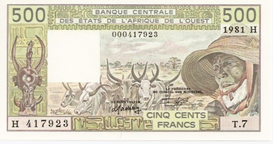 Banco Centrale  500 Francs  H-Niger Dimensions: 200 X 100, Type: JPEG