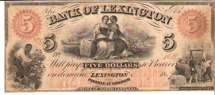 Bank of Lexington   5 Dollars  1853 Issue  Not in circulation anymore  AKA - Broken Notes Dimensions: 200 X 100, Type: JPEG