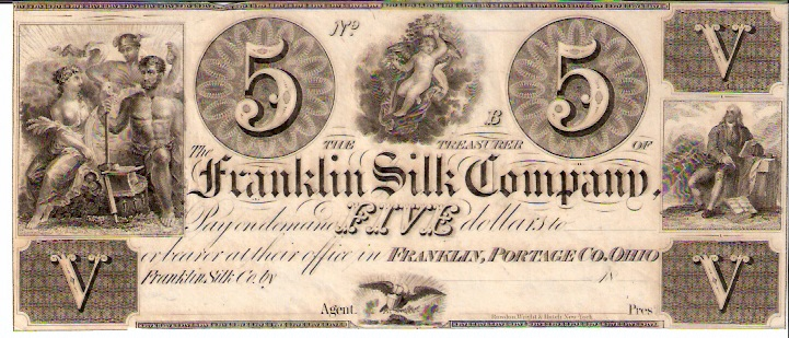 Franklin Silk Company   5 Dollars  1853 Issue  Not in circulation anymore  AKA - Broken Notes Dimensions: 200 X 100, Type: JPEG